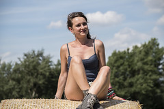 Happy Girl (Albin Kurtanovic) Tags: life girl beautiful happy day sitting farm huge hay cowgirl bale