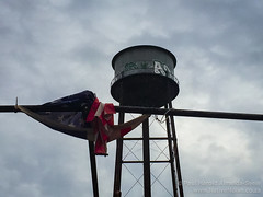 US Flag and a Water Tower in Brooklyn