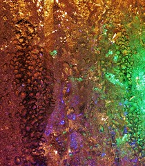 Christmas Spirit (Jeannine St. Amour) Tags: winter abstract frost christmaslights windowfrost