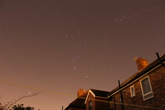 Orion with Aeroplane Streak 13th December 2014 (David Blanchflower) Tags: sky night space jet aeroplane astrophotography orion astronomy constellation