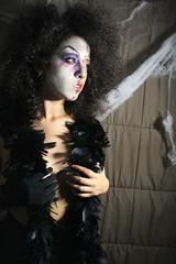 (terebede) Tags: black sexy art halloween girl night costume model women october darkness witch weekend portait spiderweb makeup horror scared seduction darkshadows happyhalloween disheveled plume 31october canoneos1200d