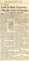 NY Daily News 18AUG57 (Chris Protopapas) Tags: psychiatry newspaper archive lsd chemistry insanity peyote amanitamuscaria berserk hoffman dailynews mescaline schizophrenia mentalillness psychosis sandoz ergot