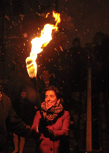 Governor Gina Raimondo shows her excitement to light the night. Photo by Luis Andrade.