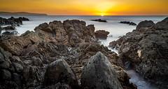 Yellow Sky (*ScottyO*) Tags: ocean sunset sea sky panorama seascape beach water yellow landscape evening coast rocks dusk stones rocky australia sa southaustralia carrickalinga fleurieu