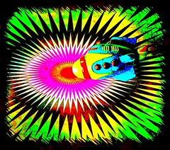 Off On Another Journey (Baky) Tags: pink light red orange sun house abstract color colour art colors japan asian toy religious robot weird rainbow colorful paint neon pattern arty purple bright artistic vibrant patterns alien jesus cartoon surreal plastic robots rocket spaceship psychedelic wacky hue cartoonish iphone   abigfave impressedbeauty aplusphoto wowiekazowie iphoneography barkyvision baky