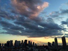cold day (moondrop) Tags: sunset sky clouds buildings tokyo evening shinjuku cityscape