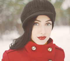 (monsters.monsters) Tags: christmas winter portrait woman snow hat fashion self outdoors 50mm coat style redlips nutcracker brunette knithat fairskin nikond800