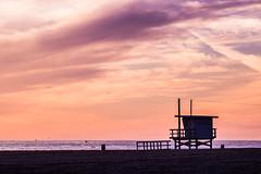 Santa Monica Sunset-2 (The Ugly Photo) Tags: ocean sunset sky seagulls beach birds clouds sand waves santamonica lifeguardtower