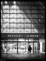 Into the Light (slickyjones) Tags: street city light shadow urban white black building japan night photography candid hiroshima fujifilm x20 hondori