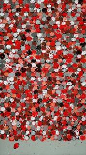 José Manuel Ciria. El color en los ojos del que mira. (Campo de 2467 flores). Serie Sueños Construidos. 2014. Collages de materiales diversos y acrílico.