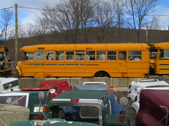 National School Bus Service #8184 (1) (ThoseGuys119) Tags: old newyork rotting junk shed storage historic schoolbus damaged retired scrap conventional defunct laidlaw thomasbuilt firststudent fordb700 nationalschoolbusserviceinc nochassis