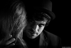 ...a darker love (dandaw24) Tags: portrait blackandwhite bw love hat hair couple faces lovers suit hate 6d