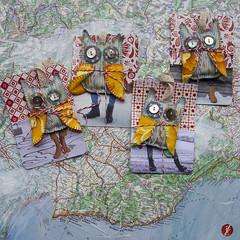 Schutzeulen im Anflug (bornschein) Tags: xmas bird collage square textile card sewrecycled
