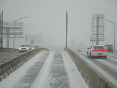 Limited visibility on the westbound Long Island Expressway due to snowstorm as we get closer to the Midtown Tunnel, as seen from the front of a moving Manhattan-bound express bus (01/09/15) (IMG_4083) (Gary Dunaier) Tags: snow highway snowstorm queens transportation freeway expressway inclementweather longislandexpressway