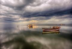Dark of evening (Nejdet Duzen) Tags: trip travel sunset reflection nature turkey boat fishing cloudy trkiye sandal karina dalyan gnbatm yansma turkei seyahat aydn doa kayk ske balklk bulutlu