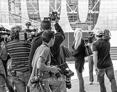 Stalking the Elusive Celebrity (Ronald Kieve) Tags: california street urban blackandwhite bw celebrity monochrome photography losangeles media paparazzi mass