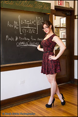 Marie - Rocket Science (Mark Birkle) Tags: school red hot cute sexy beautiful female photo chalk athletic model dress image little young picture science teacher attractive rocket calculus toned