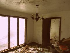 Abandoned House Chandelier (Abandoned Illinois) Tags: old orange house abandoned broken rust candle bowl chandelier abandonedhouse hanging urbex