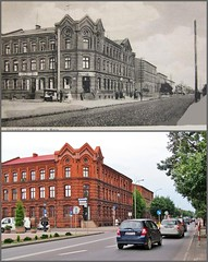 past and present (part 6) (green_lover (I wait for your COMMENTS!)) Tags: żyrardów poland street buildings architecture history redbrick cars collage
