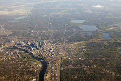 Aerial view of Minneapolis (Lucie Maru) Tags: city urban water skyline river mississippi town fly flying downtown view earth aerialview aerial topview topveiw
