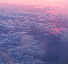 Plane Sunset! ('cosmicgirl1960' NEW CANON CAMERA) Tags: above pink blue sunset sky clouds plane yabbadabbadoo