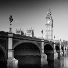 Westminster Bridge I (Richard Reader (luciferscage)) Tags: city longexposure bw london monochrome thames river bigben workshop westminsterbridge westminsterclocktower fujixt1 fuijifilmxt1