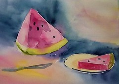 I'll have a slice (BonnieBuchananKingry) Tags: food fruit watercolor painting paintings plate slice watermellon