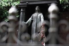 Edge of Eternity - HFF !! (marionrosengarten) Tags: angel statue cemetary nikon fence