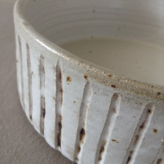 Fruit Bowl Textured Ridge Pattern (Jude Allman) Tags: white fruit bowl pot pots jude pottery bowls stoneware allman