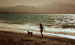 ~ Kalamia Beach (Argyro...) Tags: sea summer people dog beach water corinth greece