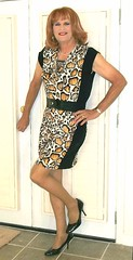 Black n Yellow Dress (bobbievnc) Tags: tgirl crossdresser redhair longhair dress shortdress tightdress pantyhose pantyhoselegs tanpantyhose heels highheels pumps