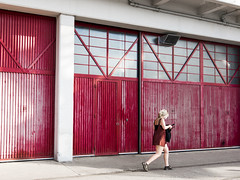 Woman in Red (Marco Di Ferrante) Tags: red rosso girl uk bristol mshed street color