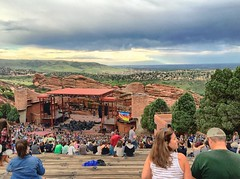Amphitheater view No. 01, 2015.07.15 (Aaron Glenn Campbell) Tags: summer vacation sky clouds landscape concert colorado audience stage crowd roadtrip faded redrocks morrison venue excursion iphoneography instagramapp uploaded:by=instagram snapseed vividhdr ios8 iphone6plus