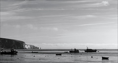 Swanage pano July 2016 4 (DXO) (Mat W) Tags: swanage dorset coast sea seaside solent boats july 2016 morning oldharryrocks sky dxofilmpack panorama stitchedpanorama