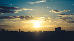 Matte Sundown - anywhere, Germany (Sebastian Bayer) Tags: matte olympus houses stromleitung sonne sonnenuntergang sundown city outdoor 124028 clouds fernsehturm drausen calm silhouette sky hochhaus omdem5ii omd trees stadt tvtower powelines skyline wolken matt