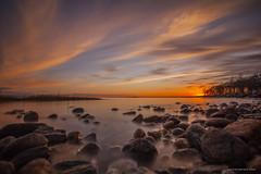 Sunset Sky (cjschelz) Tags: sunset longexposure beach dusk sky rocks seascape nature