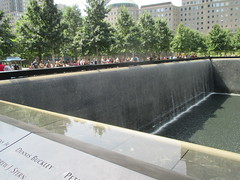 World Trade Center Memorial Fountains 2016 NYC 4351 (Brechtbug) Tags: 911 memorial fountain lower manhattan 2016 nyc footprint world trade center wtc ground zero september 11 2001 downtown new york city 2011 fdny public monument art fountains 08272016 foot print freedom tower today west skyscraper building buildings towers reflection pool water falls waterfalls wall walls pools tier tiered 15 years fifteen five