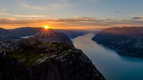 Sunrise at the Preikestolen, Lysefjorden, Norway.