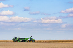 Harvest Time (Kenneth Keifer) Tags: november blue autumn sky food tractor green fall nature field yellow clouds corn october midwest farm horizon farming grain cereal harvest sunny bin equipment combine vista crops trailer agriculture majestic maize harvester agricultural sweeping chaser harvesting