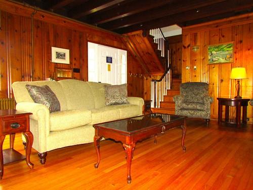 View of the living room, facing the front door.