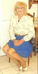 Blue Chiffon Skirt (bobbievnc) Tags: tv highheels legs cd skirt blouse tgirl short tranny blonde redhair pantyhose crossdresser nylons shemale shortskirt tanpantyhose