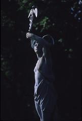 Mercury, Buscot Park, 1987. (david.secombe) Tags: oxfordshire englishgardens filmphotography gardenstatuary buscotpark mercurythemessenger thegodmercury davidsecombephotographer visitingoxford