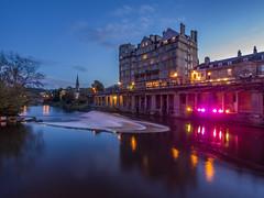 Bath Weir u.k (Wizard CG) Tags: world uk blue winter reflection water architecture night digital river ed four bath long exposure cityscape shots ngc olympus hour micro 43 weir thirds trekker m43 epl1 918mm mzuiko