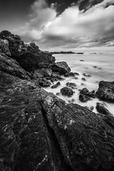 Clearing Storm (killersnowman) Tags: ocean new sea sky blackandwhite bw white storm black rock clouds landscape san rocks long exposure pacific bigsur explore le sur sansimeon sanluisobispo carpoforo