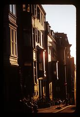 ms1950s AA-33 (ndpa / s. lundeen, archivist) Tags: street city houses sunset color film boston buildings evening apartments massachusetts nick slide sidewalk 1950s 1958 1957 kodachrome beaconhill 1959 dewolf late1950s nickdewolf photographbynickdewolf