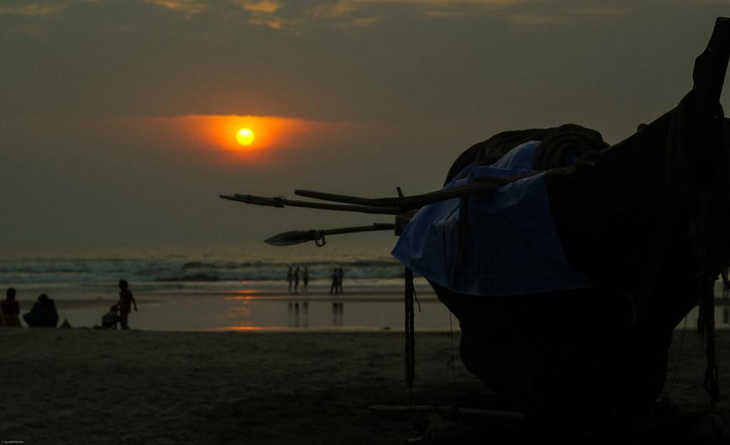 ocean sunset sea sun beach boat goa