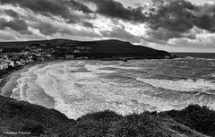 Weather Bomb hits Port Erin beach, Isle of Man (manxmaid2000) Tags: winter sea wild bw seascape storm cold beach water monochrome weather landscape mono bay coast seaside waves outdoor tide gales coastal rough isleofman rugged manx iom porterin westerly