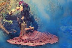Gypsy (medusa.gorgona.photography) Tags: portrait woman blur flower sexy halloween girl beautiful beauty rose festival fog female fairytale model eyes day smoke dream foggy garland peony fairy attractive crown smoky charming hazy boho gypsy legend dreamer tale bohemian myth drea flowergarland flowerband