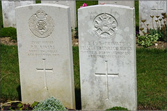 P.H. Rivers & F.F. Birks, 1915, War Grave, Etaples (PaulHP) Tags: etaples military cemetery france ww1 great war cwgc headstone ph rivers sapper service number 36527 re royal engineers 54th field coy company felvus fredrick birks private 21403 4th december 1915 sherwood foresters notts derby regt regiment 2nd bn battalion alice annie elizabeth carlton terrace barnsley alfreton derbyshire world one grave