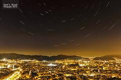 Estrellas sobre Barcelona (src.Architect) Tags: barcelona city stars ciudad estrellas carmel nocturna startrails circumpolar estelar paisajenocturno bunkercarmel